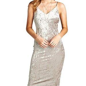 Active USA Brownish Grey Crushed Velvet Dress M